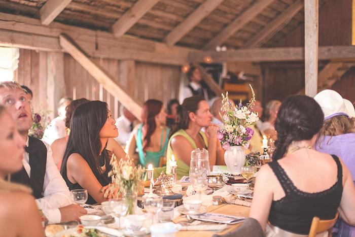 Swedish barn wedding reception