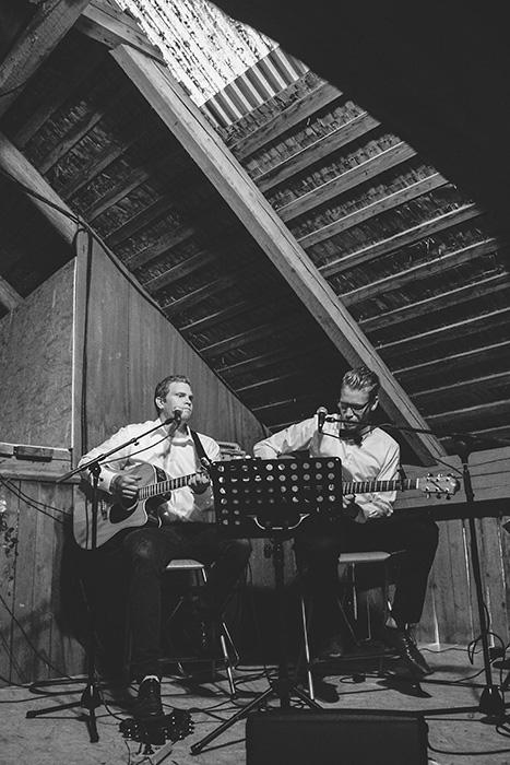band performing at barn wedding reception