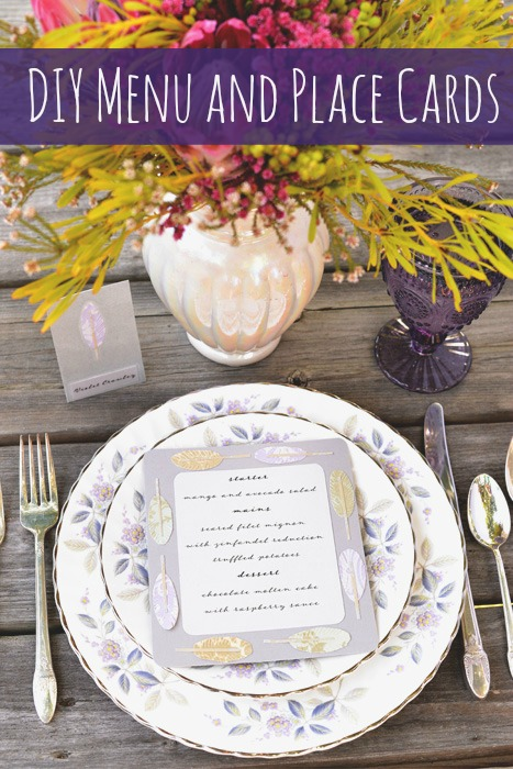 diy menu and place cards