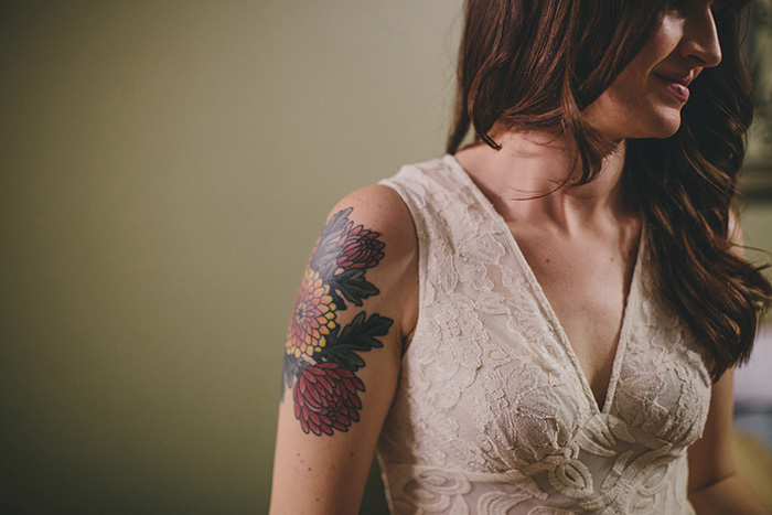 bride's arm tattoo