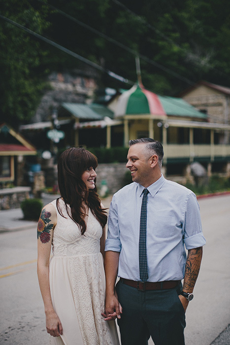 bride and groom portrait in town