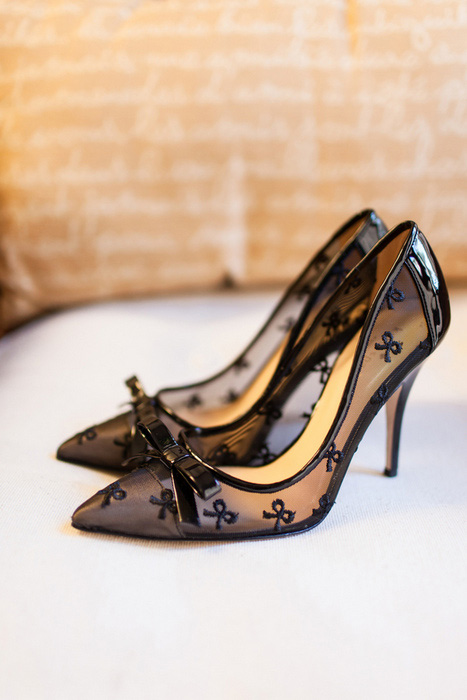 black mesh wedding shoes