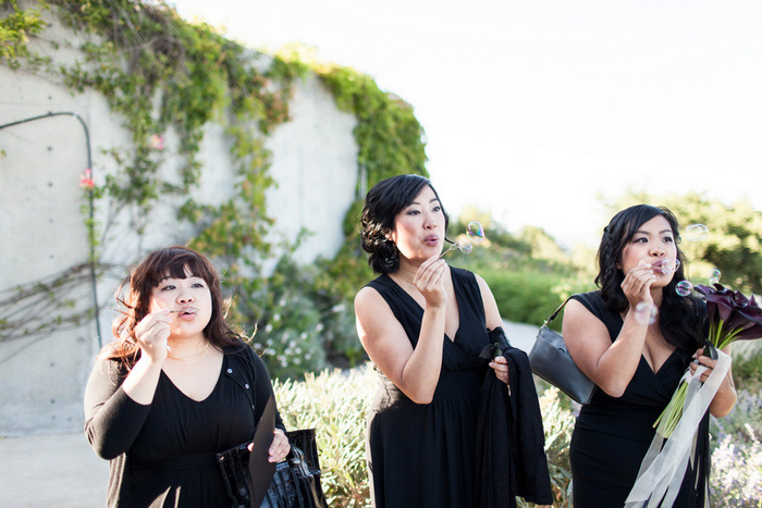 bridesmaids blowing bubbles