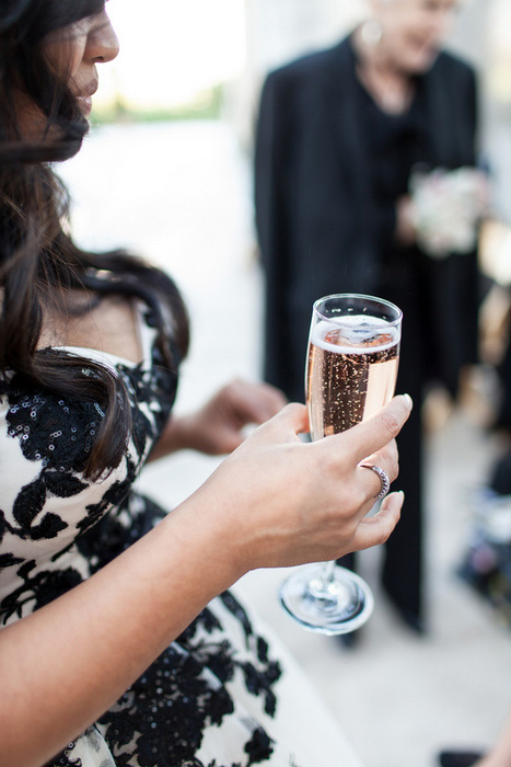 bride holding champagne flute
