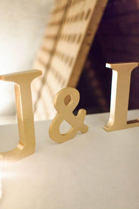 gold wedding initials
