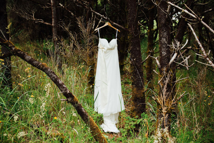 dress hanging in the woods
