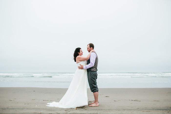 bride and groom on the beach