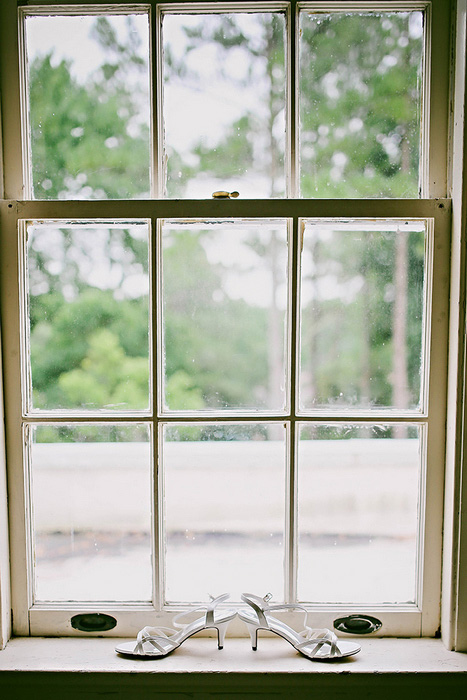 wedding shoes on windowsill