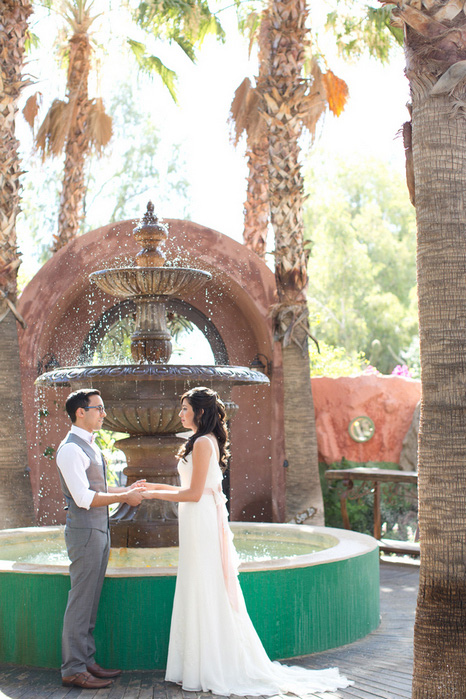 elopement ceremony by fountain