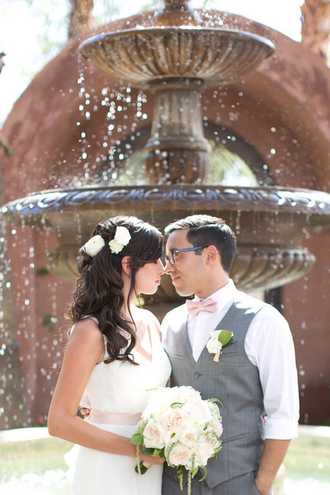 wedding portrait in front of fountain