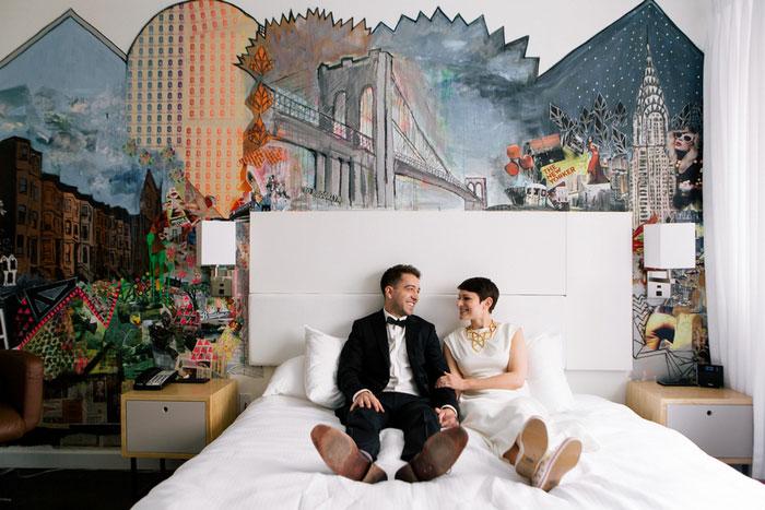 bride and groom inbed