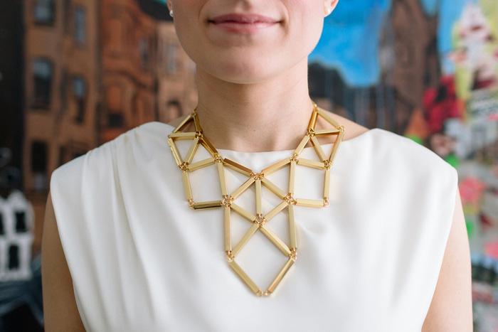 bride's geometric gold necklace