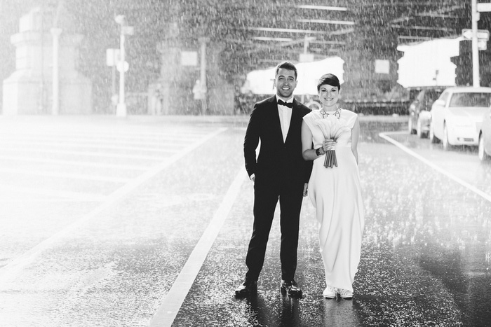 wedding portrait in the rain