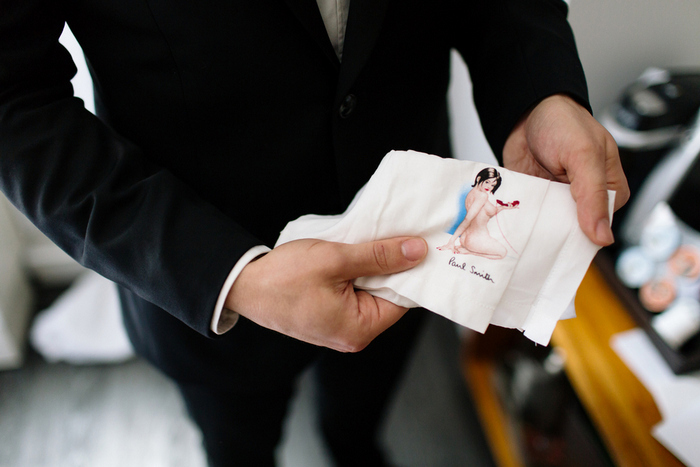 groom with custom handkerchief