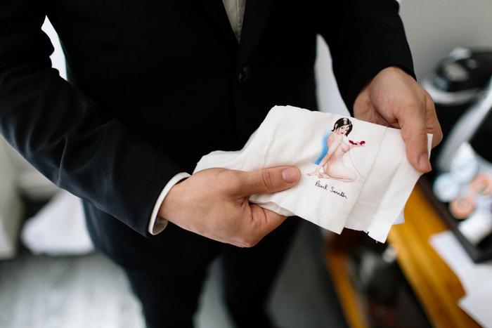 groom with custom handkerchief