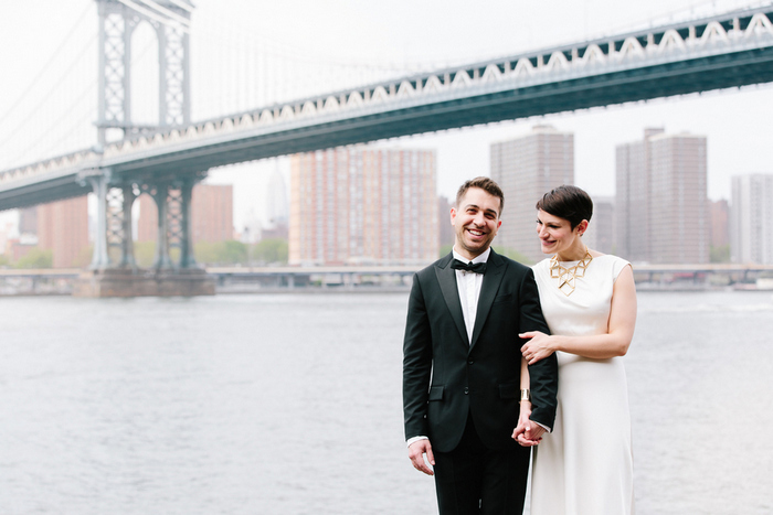 wedding portrait by Brooklyn Bridge