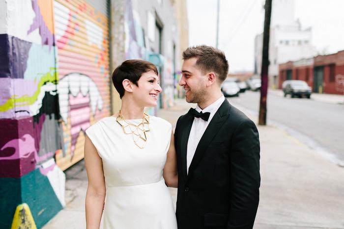 bride and groom portrait on Brooklyn street