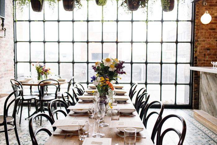 restaurant wedding reception set-up
