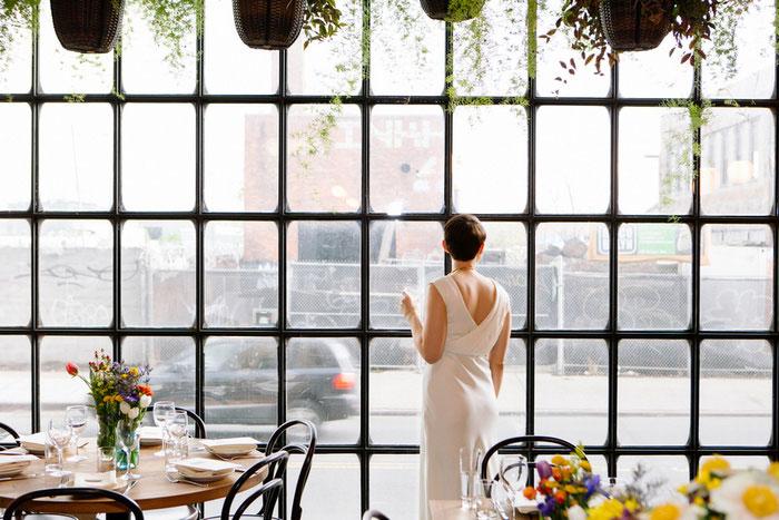 bride in brooklyn restaurant
