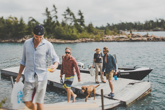 groomsmen arriving by boat