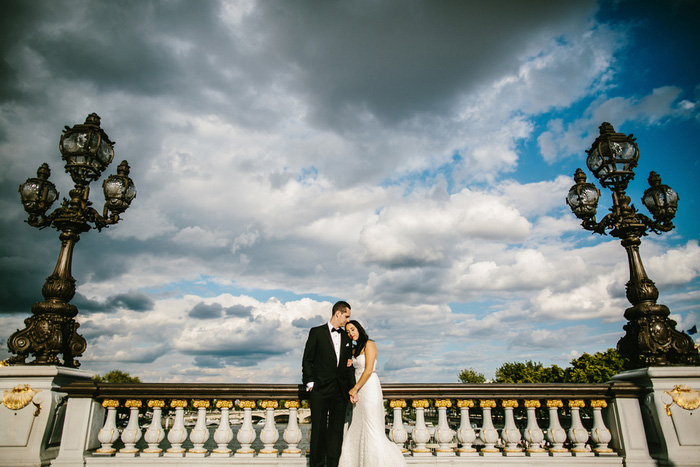 wedding portrait on Paris bridge