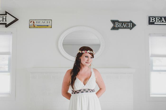 bride inside cottage