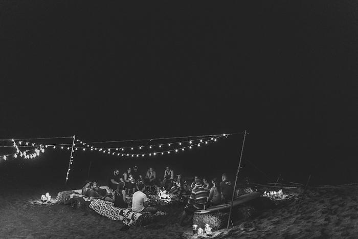 beach bonfire wedding reception