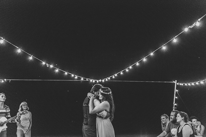 bride and groom first dance on the beach