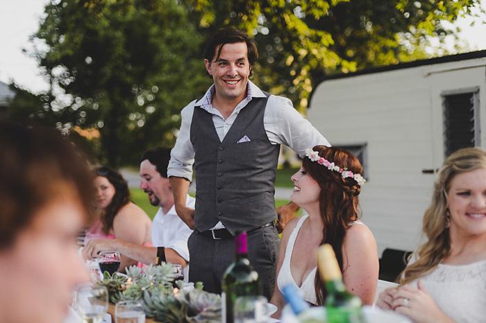 groom at wedding reception