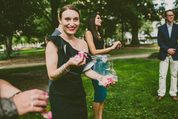 maid of honor with rose petals