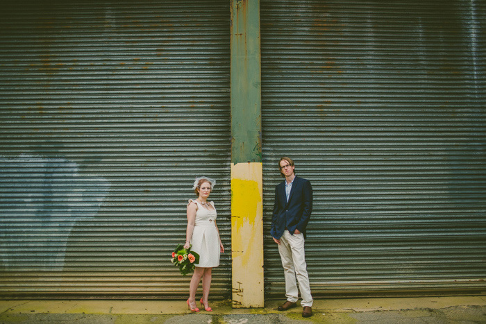 urban wedding portrait