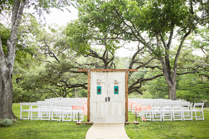 rustic outdoor wedding ceremony doors