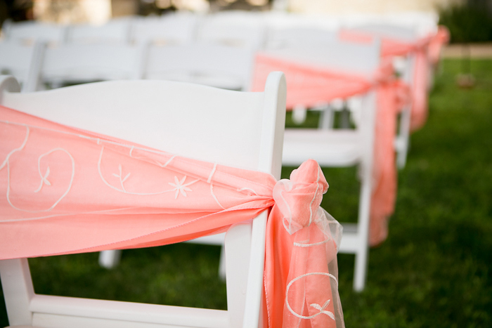 fabric wrapped wedding ceremony chairs