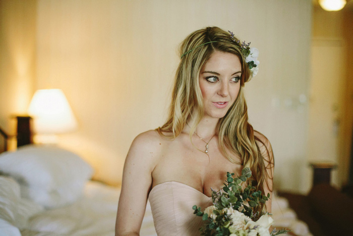 bride in hotel room