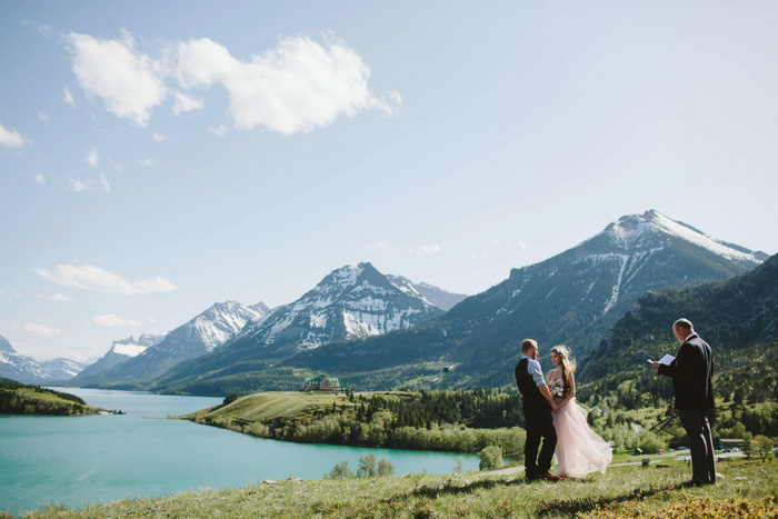 elopement ceremony by the mountains