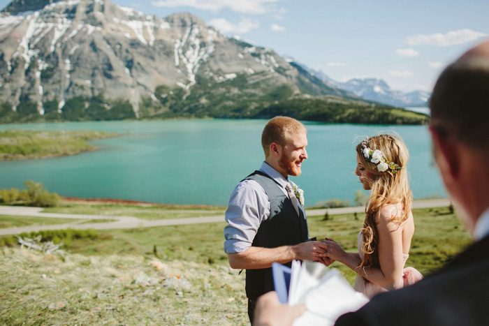 elopement ceremony in Alberta mountains