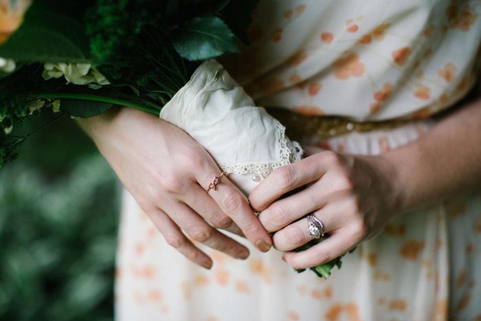 detail of bride's bouquet wrap