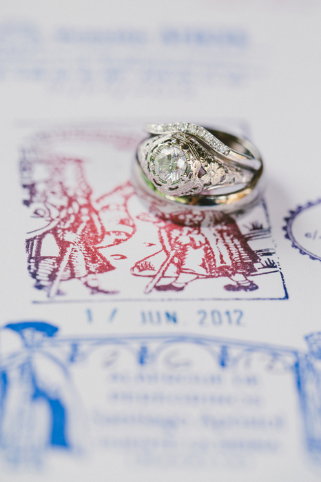 wedding rings on stamps
