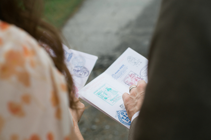 bride and groom comparing passport stamps