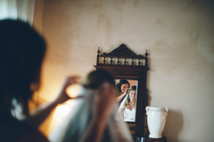 bride's refelction in mirror