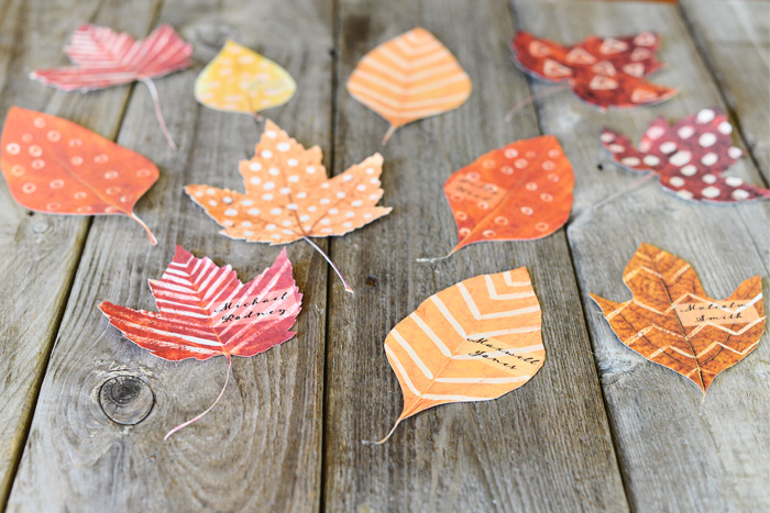 diy leaf place cards