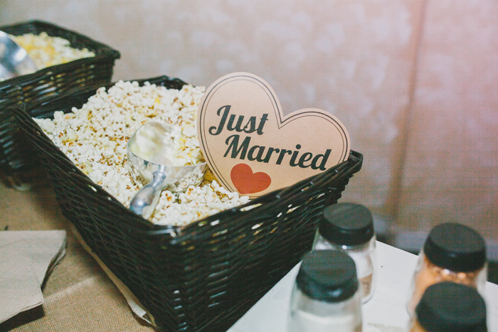 just married sign in popcorn