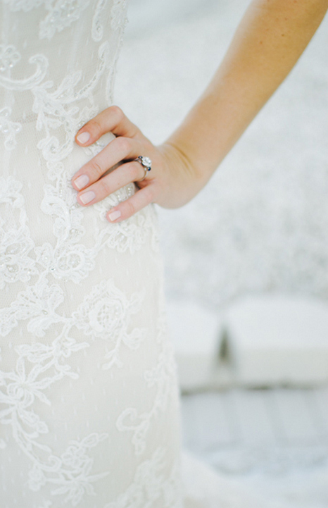 bride's hand on hip