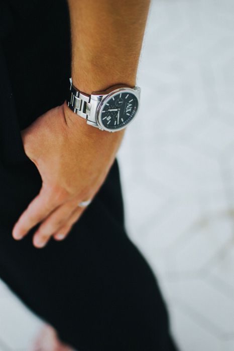 close-up of groom's watch