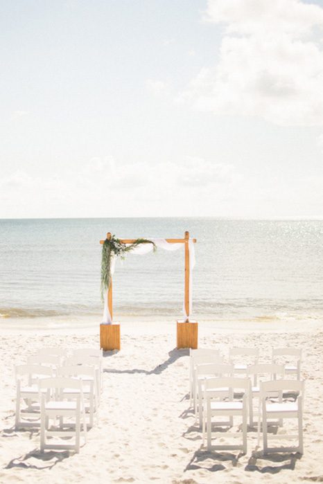 wedding ceremony set-up on the beach