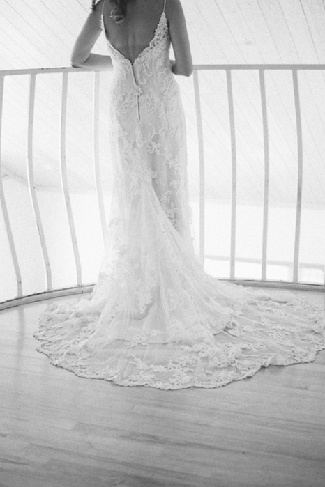 back detail of bride's wedding gown