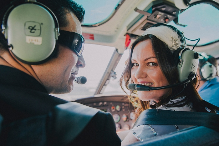 brie with helicopter headset