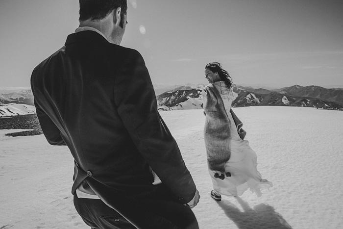 bride walking through snow