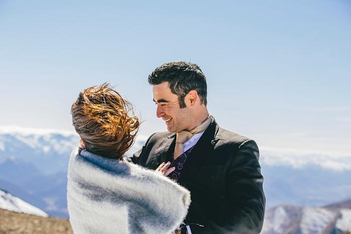 wedding portrait on windy mountain