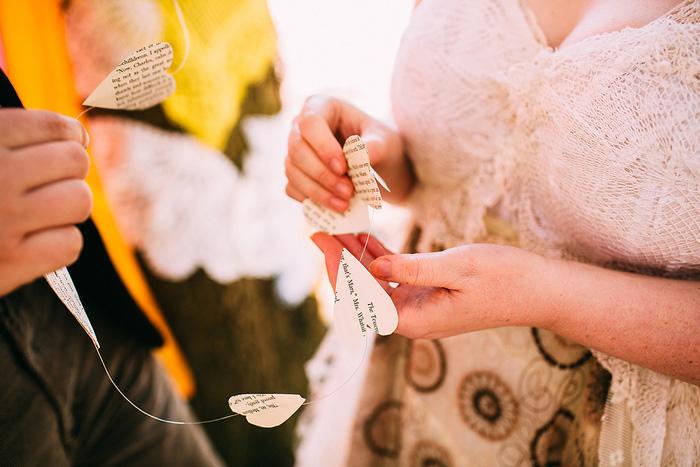 bride wit DIY heart garland